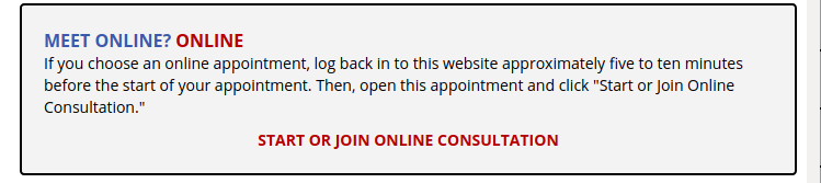 Screenshot of WCOnline's interface when starting or joining an online consultation